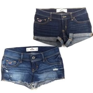 Hollister BUNDLE Distressed + Rolled Cuff Shorts